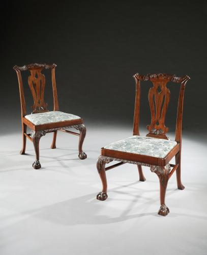 A pair of Irish carved mahogany side chairs