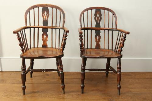 A matched pair of small Windsor chairs