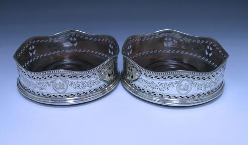 Pair of George III Antique Sterling Silver Wine Coasters