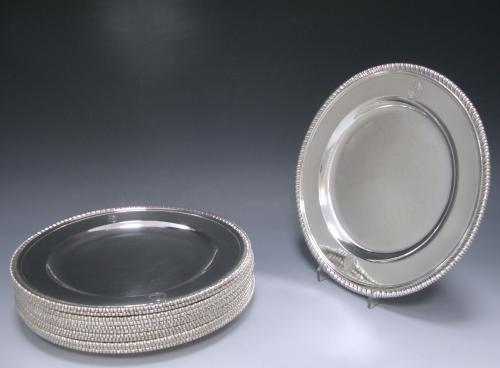 SET OF 12 ANTIQUE SILVER DINNER PLATES