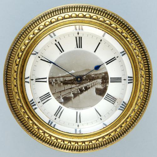 Small Clock with View of Lake Geneva