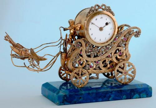 Unusual Silver Gilt Desk Clock