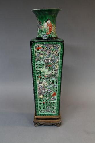 A large 19th century chinese famille verte porcelain reticulated vase