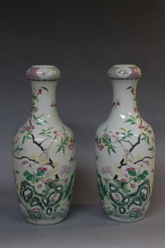 A pair of 19th century chinese famille rose vases