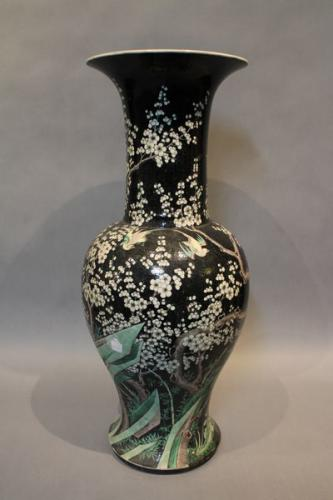 A large 19th century chinese famille noir vase