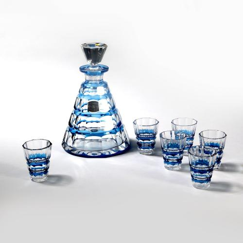 A decanter and six glasses by Val St Lambert