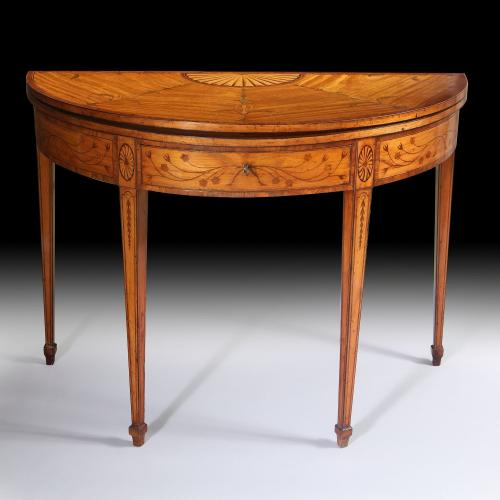 A fine quality Adam period satinwood and marquetry tea table