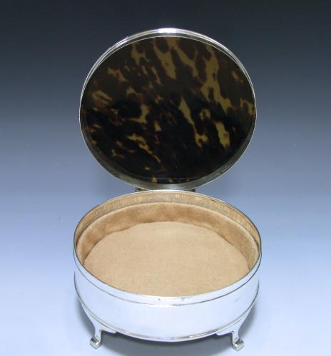 A Tortoiseshell and Sterling Silver Box