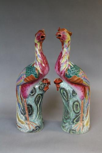 A pair of 19th century chinese phoenix