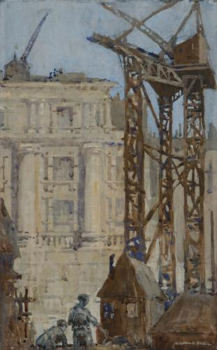 A neoclassical building with construction in the foreground - Reginald Brill (1902-1974)