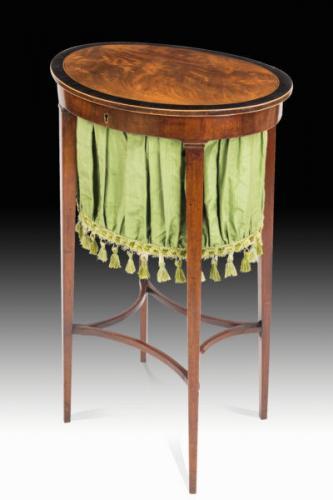 Charming George III Oval Mahogany Work Table
