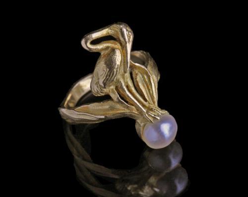 ART NOUVEAU (1890-1910) Beautiful Stork Ring
