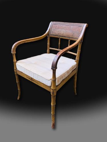 George III Regency Period Decorated Armchair in beechwood