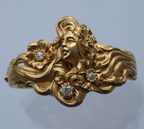 PLISSON & HARTZ Superb Art Nouveau Scarf Ring