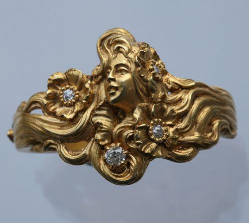 PLISSON & HARTZ Superb Art Nouveau Scarf Ring