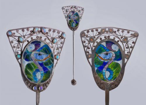 FREDERICK JAMES PARTRIDGE (1877-1942) Guild of Handicraft Serpent Hair Pin