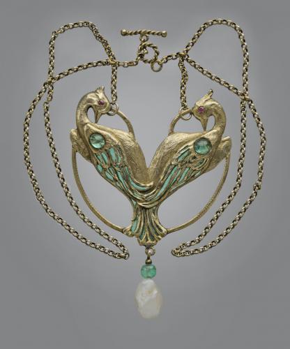 CHARLES BOUTET DE MONVEL (1855-1913) Art Nouveau Peacock Pendant