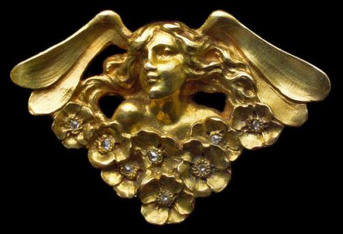 ANDRÉ RAMBOUR (worked from c.1900) 'Flora' Art Nouveau brooch