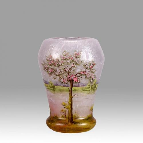 French Art Nouveau Cameo Glass Vase 'Paysage Rosé' by Daum Freres