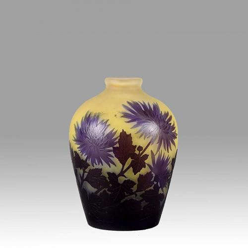 French Art Nouveau Cameo Glass 'Chrysanthemum' Vase by Emile Gallé