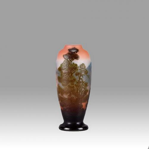Art Nouveau Cameo Glass Mountain Landscape Vase by Emile Gallé