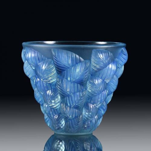 French Art Deco Opalescent Glass Vase 'Moissac' by René Lalique