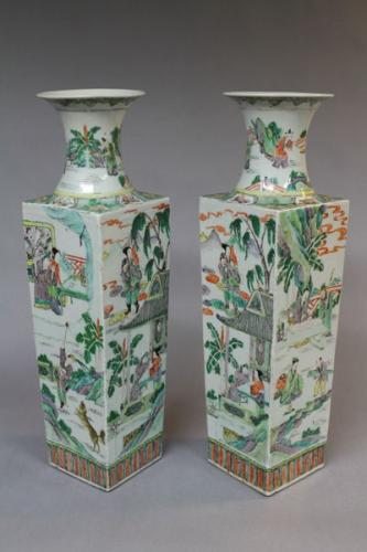 A pair of 19th century chinese famille verte square form vases