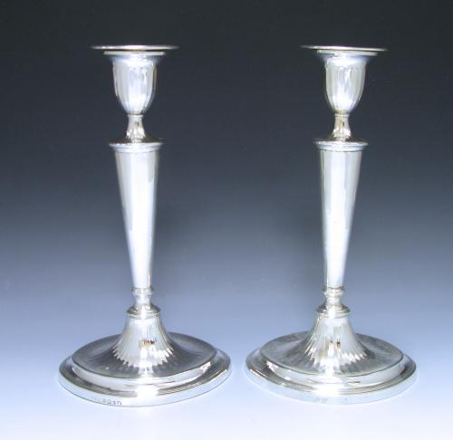 PAIR OF GEORGE III ANTIQUE SILVER CANDLESTICKS
