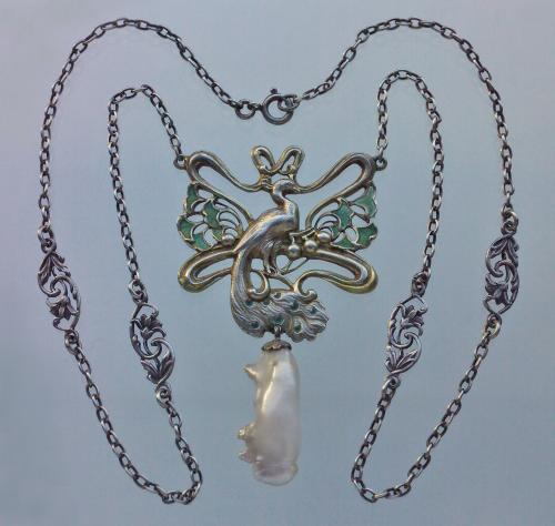 JANVIER QUERCIA (worked 1899-1936) Art Nouveau Peacock Pendant