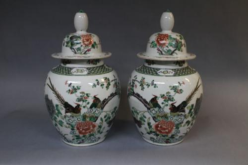 A pair of 19th century chinese famille verte jar and covers