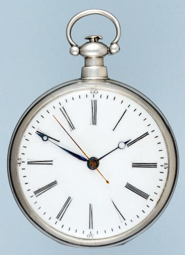 Silver Chinese Market Duplex Pocket Watch