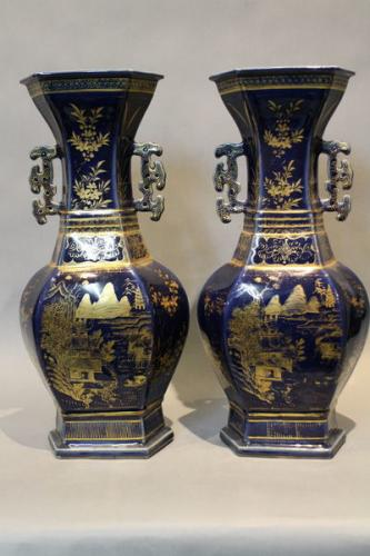 a pair of 18th century chinese powder blue glazed pottery vases