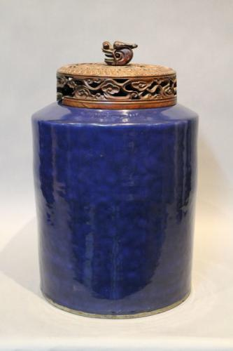 A large 18th century chinese powder blue glazed tea canister