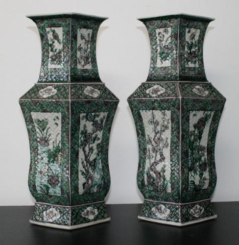 A pair of unusual shape famille verte vases