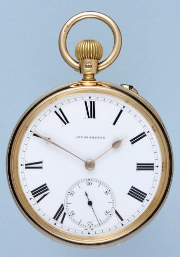 Gold English Spring Detent Chronometer Pocket Watch