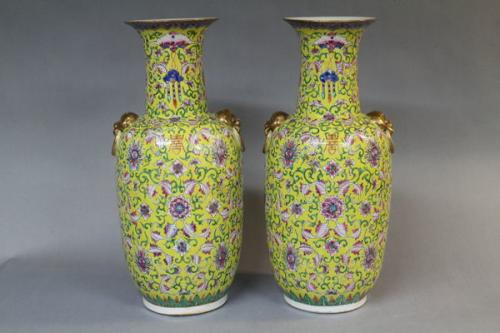 A pair of 19th century chinese famille jaune vases