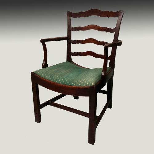 Georgian mahogany ladder back armchair