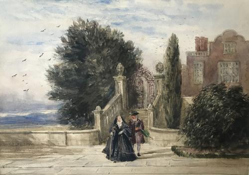 A terrace with figures in historical costume, David Cox (British, 1783-1859)