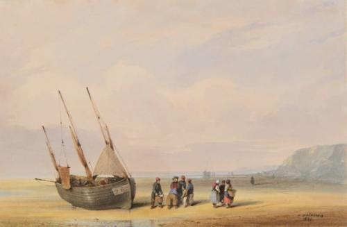 A fishing boat and fisherfolk on the beach near Boulogne, Auguste Delacroix (Boulogne, 1809-1868)