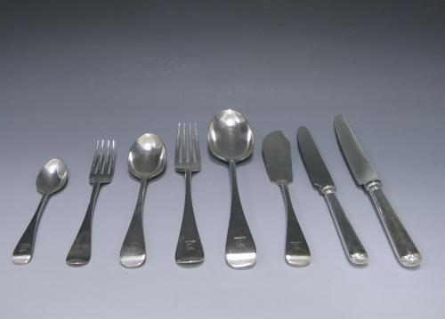 """Antique Silver """"Old English"""" Pattern Flatware Service"""