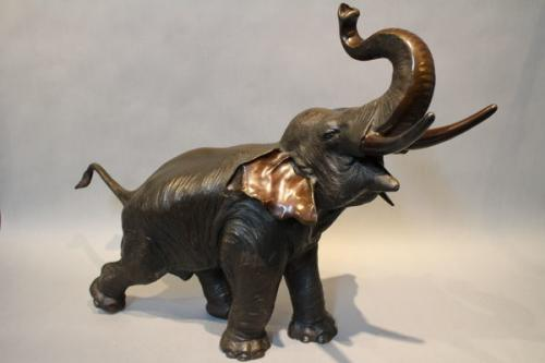 A 19th century japanese bronze of an elephant