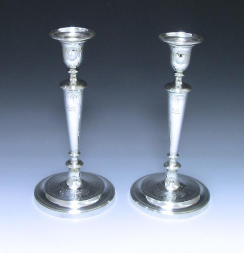 Pair of George III Antique Sterling Silver Candlesticks