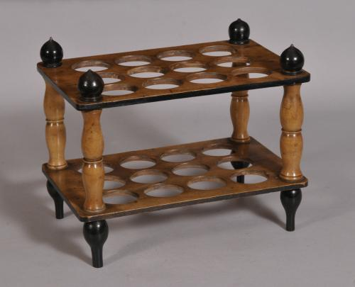 S/3527 Antique Treen 19th Century Beech Egg Stand
