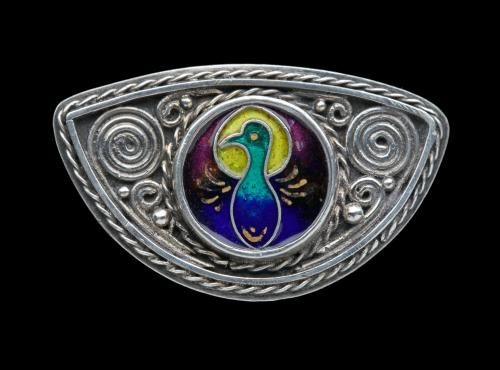 Arts & Crafts Peacock Brooch Attributed to WILLIAM THOMAS BLACKBAND (1885-1945)