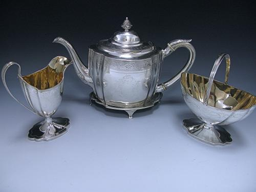 George III Antique Sterling Silver Three Piece Tea Set