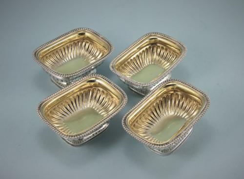 GEORGE III Set of 4 Sterling Silver Rectangular Salts by Emes and Barnard. London 1809