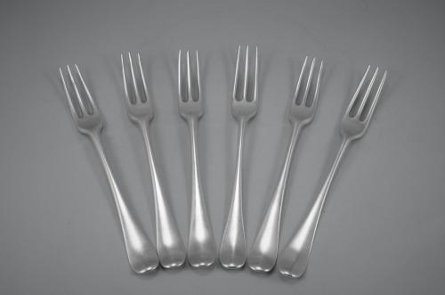 GEORGE III Set of Six Sterling Silver Hanoverian Three Pronged Table Forks. London 1763