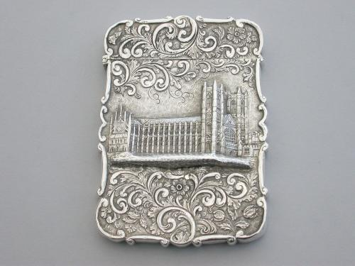 Victorian Silver Castle-Top Card Case 'Westminster Abbey'