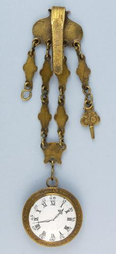 Rare Gilt Toy Metal Chatelaine and Watch