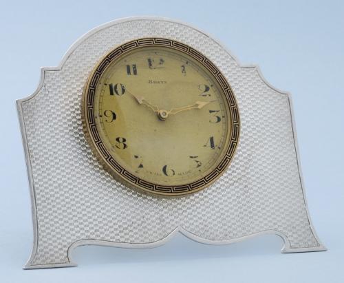 Silver Engine Turned Strut Clock